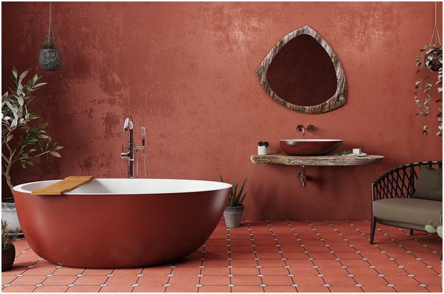 Salle de bain de couleur rouge: intérieur passionnant